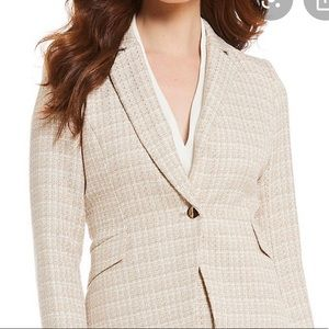 🔴H&M Women's Tan tweed jacket size 8
